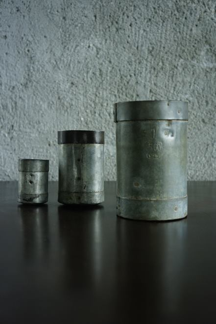 SOLD >galvanized measure cups