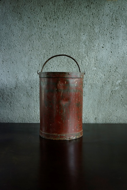 SOLD >red iron bucket